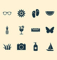 sun icons set with grass boat butterfly and vector image