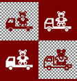 truck with bear bordo and white icons and vector image vector image