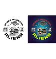 ufo and house emblem badge label logo vector image vector image