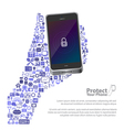 Universal icon protect phone concept vector image