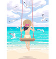 young woman on a swing at sea coast vector image vector image