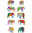 set of colorful elephants vector image
