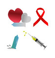 aids care symbol collection red ribbon vector image