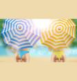 bikini girls under beach blue and orange umbrella vector image