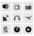 black media icons set vector image vector image