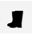 black silhouette of gardener high rubber boots vector image