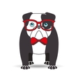 bulldog with glasses red bow vector image vector image