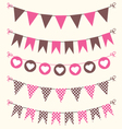 Bunting set pink and brown for scrapbook vector image vector image