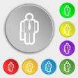 businessman icon sign Symbol on eight flat buttons vector image