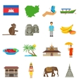 Cambodia Culture Flat Icons Set vector image