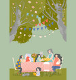 cartoon happy family having dinner in blossom vector image