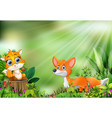 cartoon of the nature scene with two fox vector image vector image