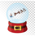 christmas glass magic ball with santa claus deer vector image vector image