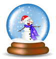 christmas snowglobe with snowman cartoon design vector image vector image