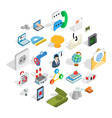 city service icons set isometric style vector image vector image