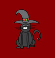 cute black cat in a witch hat sitting halloween vector image vector image
