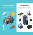 datacenter isometric vertical banners vector image vector image