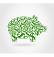 dollar pig vector image vector image