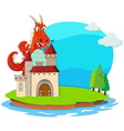 Dragon destroying the castle vector image