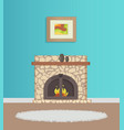 flat with blue wallpaper and fireplace vector image