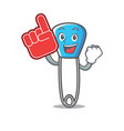 foam finger safety pin mascot cartoon vector image