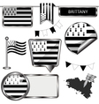 Glossy icons with Brittany flag vector image vector image