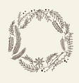 hand drawn christmas natural wreath vector image vector image