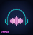 headphone sign neon light design vector image vector image