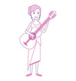 hippie woman playing guitar vector image