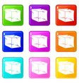 ice icons 9 set vector image vector image