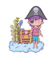 little pirate in the clouds with treasure chest vector image