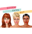 model face set vector image vector image