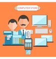 Modern Computer Store Concept Flat Design vector image vector image