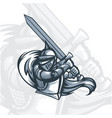 monochrome paladin knight with sword vector image vector image