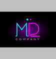 neon lights alphabet md m d letter logo icon vector image vector image
