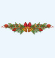 ornate christmas decoration border made fir vector image vector image