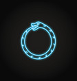 ouroboros snake icon in glowing neon style vector image vector image