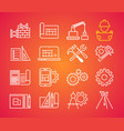 outline web icons set - building construction vector image vector image