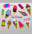 realistic sweet ice cream with caramel and waffle vector image vector image