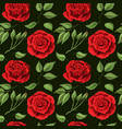 red roses embroidery seamless pattern beautiful vector image vector image