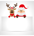 Santa Claus and reindeer with a place for text vector image vector image