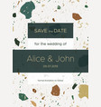 save date card template with terrazzo marble vector image