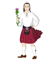 Scotsman with national flower of Scotland vector image