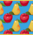 seamless pattern ripe yellow pears and red apples vector image