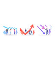 set businesspeople frustrated about economic arrow vector image vector image