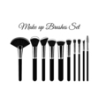 Set of Cosmetic Brushes for Make up Isolated On vector image vector image