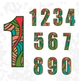 Set of doodle numbers with abstract pattern vector image vector image