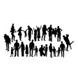 set of happy family silhouettes vector image