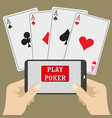 smart phone gambling - poker aces vector image
