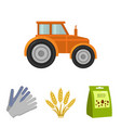 spikelets of wheat a packet of seeds a tractor vector image vector image